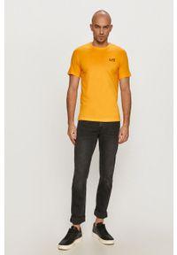 EA7 Emporio Armani - T-shirt. Okazja: na co dzień. Kolor: żółty. Materiał: dzianina. Styl: casual