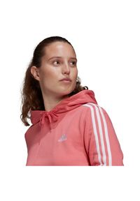 Adidas - Bluza damska adidas Essentials 3S Cropped Hoodie GM5585. Materiał: wiskoza, poliester, materiał, bawełna. Wzór: paski
