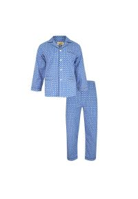 ForMax - Piżama Niebieska Flanelowa, Bawełniana, Dwuczęściowa, Koszula Długi Rękaw, Długie Spodnie -FORMAX. Kolor: niebieski. Materiał: bawełna. Długość: długie