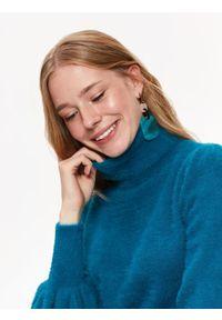 Turkusowy sweter TOP SECRET w kolorowe wzory, casualowy, z golfem, długi