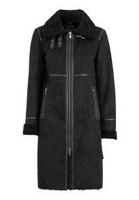 Czarna kurtka SAKI na wiosnę, elegancka, ze stójką, w paski