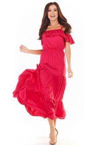 Awama - Długa Sukienka w Hiszpańskim Stylu - Fuksja. Kolor: różowy. Materiał: wiskoza, elastan. Długość: maxi