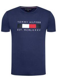 TOMMY HILFIGER - Tommy Hilfiger T-Shirt Logo Box MW0MW16583 Granatowy Regular Fit. Kolor: niebieski