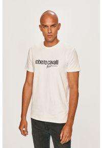 Biały t-shirt ROBERTO CAVALLI SPORT z okrągłym kołnierzem, z aplikacjami, na co dzień, sportowy