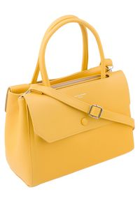DAVID JONES - Torebka damska David Jones żółta CM5690. Kolor: żółty. Materiał: skórzane. Styl: klasyczny