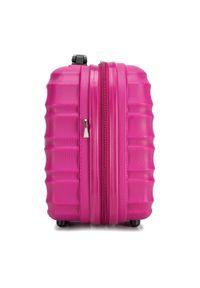 Wittchen - Kosmetyczka podróżna z ABS-u z żebrowaniem. Kolor: różowy