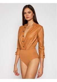 Brązowa bluzka body Elisabetta Franchi