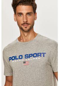 Szary t-shirt Polo Ralph Lauren z nadrukiem, na co dzień