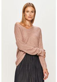 Różowy sweter Jacqueline de Yong z długim rękawem, długi, na co dzień, casualowy