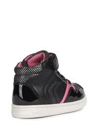 Czarne buty sportowe Geox na rzepy, z cholewką, z okrągłym noskiem