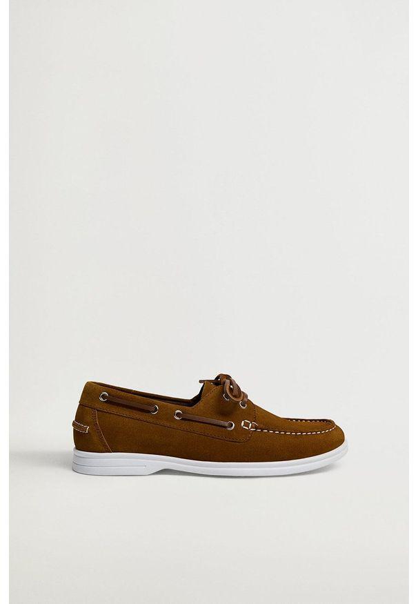 Mango Man - Półbuty zamszowe SAIL. Nosek buta: okrągły. Zapięcie: sznurówki. Kolor: brązowy. Materiał: zamsz