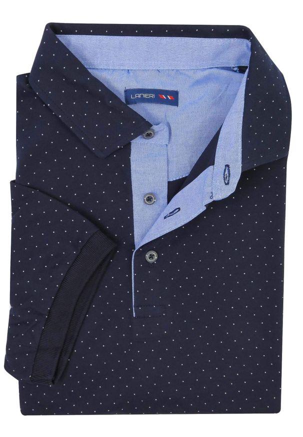 Lanieri Fashion - Granatowa męska koszulka polo w białe kropeczki KP15. Typ kołnierza: polo. Kolor: niebieski, biały, wielokolorowy. Materiał: bawełna, materiał. Długość: krótkie