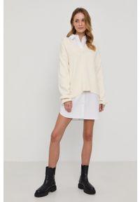 Samsoe & Samsoe - Samsoe Samsoe - Sweter. Kolor: beżowy. Materiał: bawełna. Długość rękawa: długi rękaw. Długość: długie