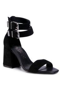 Czarne sandały SuperTrash na średnim obcasie, na co dzień