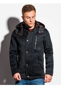 Ombre Clothing - Płaszcz męski z kapturem C200 - czarny - XL. Typ kołnierza: kaptur. Kolor: czarny. Materiał: dzianina, poliester