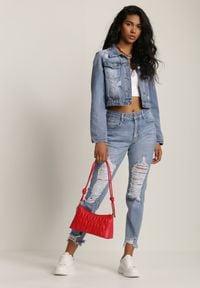 Renee - Niebieska Kurtka Jeansowa Sabishae. Okazja: na co dzień. Kolor: niebieski. Materiał: jeans. Długość rękawa: długi rękaw. Długość: długie. Wzór: aplikacja. Styl: casual