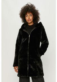 Czarny płaszcz Jacqueline de Yong na co dzień, z kapturem