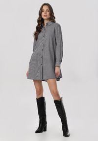 Born2be - Czarno-Biała Sukienka Twilightflaw. Kolor: czarny. Materiał: jeans. Wzór: gładki, aplikacja, nadruk. Długość: maxi