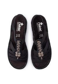 Czarne sandały Rieker na co dzień, casualowe