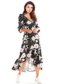 e-margeritka - Sukienka maxi z falbanami brązowa - s. Kolor: brązowy. Materiał: tkanina, poliester, materiał, elastan. Sezon: lato, wiosna. Typ sukienki: asymetryczne. Długość: maxi