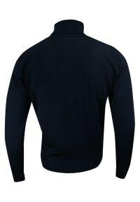 Niebieski sweter MM Classic z golfem, klasyczny