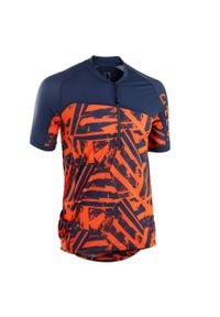 ROCKRIDER - Koszulka krótki rękaw na rower MTB ST 500 męska. Kolor: niebieski. Materiał: tkanina, materiał. Długość rękawa: krótki rękaw. Długość: krótkie. Sezon: lato. Sport: kolarstwo