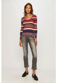 Wielokolorowy sweter Pepe Jeans długi, z okrągłym kołnierzem, z długim rękawem