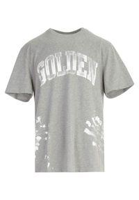 GOLDEN GOOSE - Szary t-shirt z logo. Kolor: szary. Materiał: bawełna. Wzór: aplikacja. Styl: klasyczny