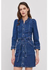 Pepe Jeans - Sukienka jeansowa Dolly. Kolor: niebieski. Materiał: tkanina. Długość rękawa: długi rękaw. Wzór: gładki