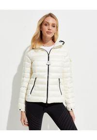 MONCLER - Biała kurtka Bles. Kolor: biały. Materiał: puch, materiał. Długość rękawa: długi rękaw. Długość: długie