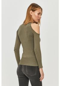 Guess - Sweter. Kolor: zielony. Materiał: dzianina. Długość rękawa: długi rękaw. Długość: długie. Wzór: aplikacja