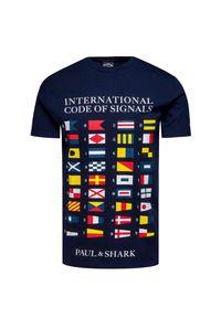 Niebieski t-shirt Paul and Shark z okrągłym kołnierzem, z nadrukiem