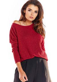 Czerwony sweter oversize Awama z dekoltem w łódkę