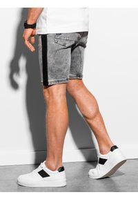 Ombre Clothing - Krótkie spodenki męskie jeansowe W221 - szare - XXL. Okazja: na co dzień. Kolor: szary. Materiał: jeans. Długość: krótkie. Wzór: kolorowy. Sezon: lato. Styl: casual, klasyczny