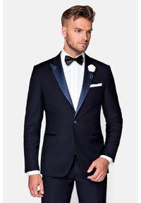 Lancerto - Marynarka Granatowa Smokingowa Lincoln. Okazja: na wesele, na ślub cywilny, na imprezę. Kolor: niebieski. Materiał: skóra, wełna, tkanina, lakier, poliester. Wzór: gładki. Styl: wizytowy, elegancki