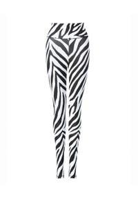 REDEMPTION ATHLETIX - Leginsy w zebrę. Kolor: czarny. Materiał: elastan, nylon. Długość: długie. Wzór: motyw zwierzęcy