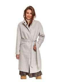 TOP SECRET - Elegancki płaszcz ze stójką z dodatkiem wełny. Typ kołnierza: kołnierzyk stójkowy. Kolor: szary. Materiał: wełna. Sezon: zima. Styl: elegancki #1