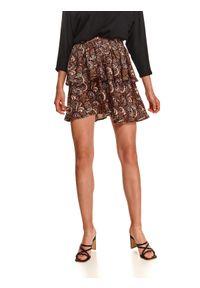 TOP SECRET - Mini spódniczka z falbanami. Kolor: czarny. Materiał: dzianina. Długość: krótkie. Wzór: nadruk. Sezon: jesień