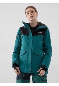 4f - Kurtka snowboardowa membrana 10 000 damska. Kolor: zielony. Materiał: materiał, poliester. Sezon: zima. Sport: snowboard