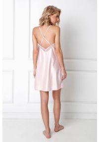 Różowa piżama Aruelle ze splotem