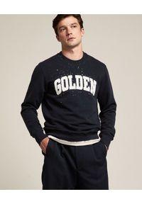 GOLDEN GOOSE - Granatowa bluza z logo. Kolor: niebieski. Materiał: bawełna, prążkowany. Długość rękawa: długi rękaw. Długość: długie. Wzór: aplikacja. Styl: klasyczny