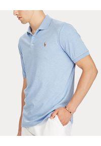 Ralph Lauren - RALPH LAUREN - Niebieska koszulka Slim Fit Soft. Okazja: na co dzień. Typ kołnierza: polo. Kolor: niebieski. Materiał: bawełna, prążkowany. Wzór: kolorowy, haft, melanż. Styl: casual #1