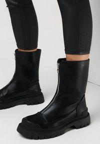 Born2be - Czarne Botki Basteus. Zapięcie: zamek. Kolor: czarny. Materiał: jeans, dzianina. Szerokość cholewki: normalna. Wzór: aplikacja