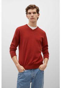 Czerwony sweter Mango Man z długim rękawem, casualowy
