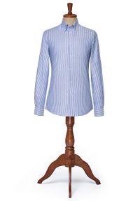 Niebieska koszula Lancerto klasyczna, button down, w prążki