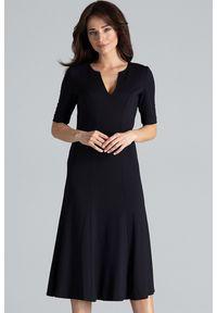 Lenitif - Elegancka sukienka midi rozkloszowana w kliny dekolt V czarna. Okazja: do pracy, na co dzień. Kolor: czarny. Typ sukienki: rozkloszowane. Styl: elegancki. Długość: midi