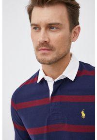 Polo Ralph Lauren - Longsleeve bawełniany. Typ kołnierza: polo. Kolor: niebieski. Materiał: bawełna. Długość rękawa: długi rękaw