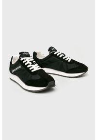 Czarne sneakersy Calvin Klein Jeans z cholewką, na sznurówki, z okrągłym noskiem