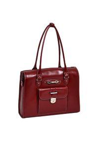 Czerwona torebka MCKLEIN z aplikacjami, zdobiona, klasyczna