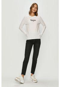 Biała bluzka z długim rękawem Tommy Jeans na co dzień, casualowa, z okrągłym kołnierzem